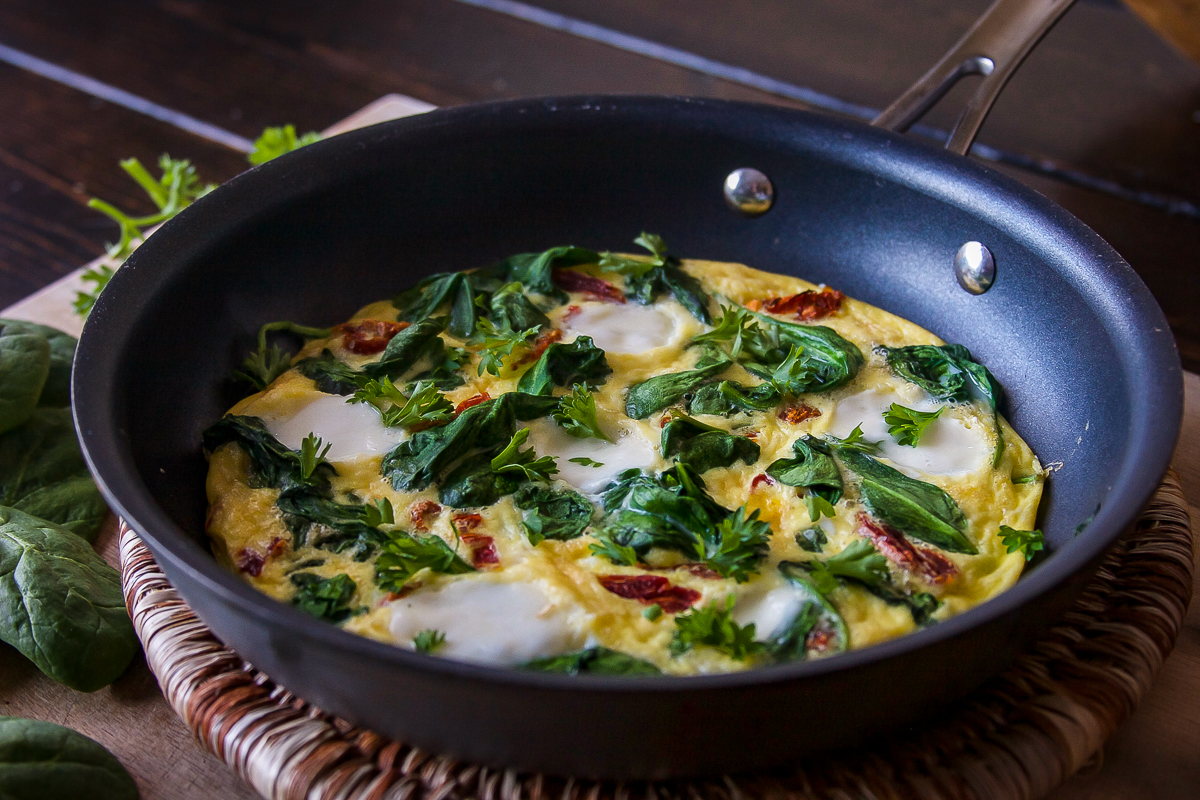 Spinach and Sun Dried Tomato Frittata for One