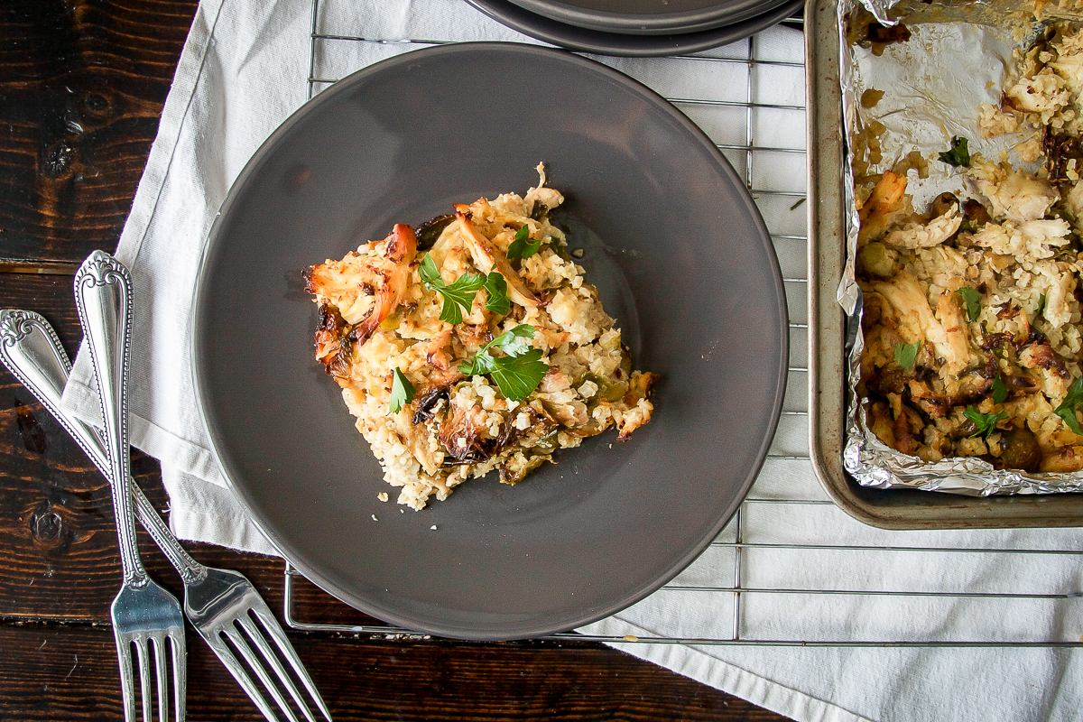 Leftover Chicken Cauliflower Rice Casserole