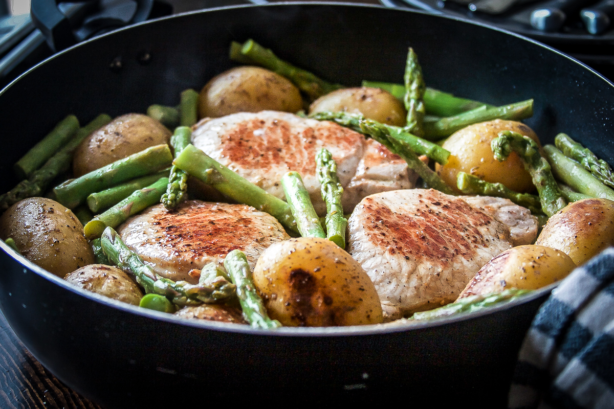 One Pan Pork Chops with Asparagus and Potatoes