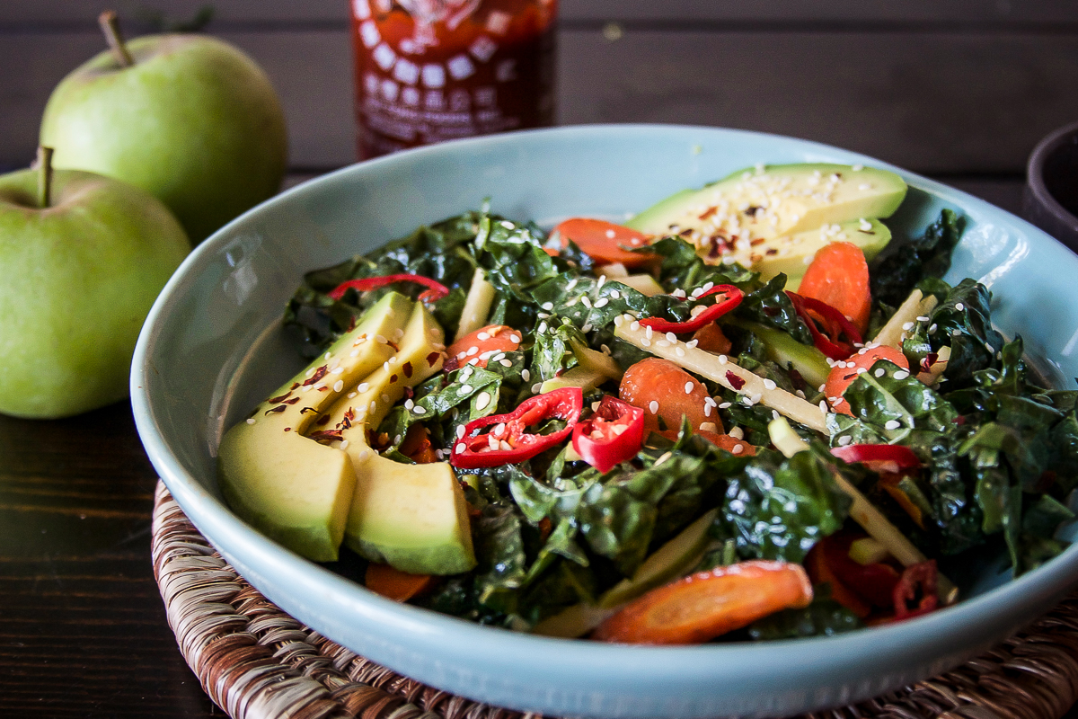 Spicy Maple Roasted Carrot Kale Salad with Chili Tahini Dressing