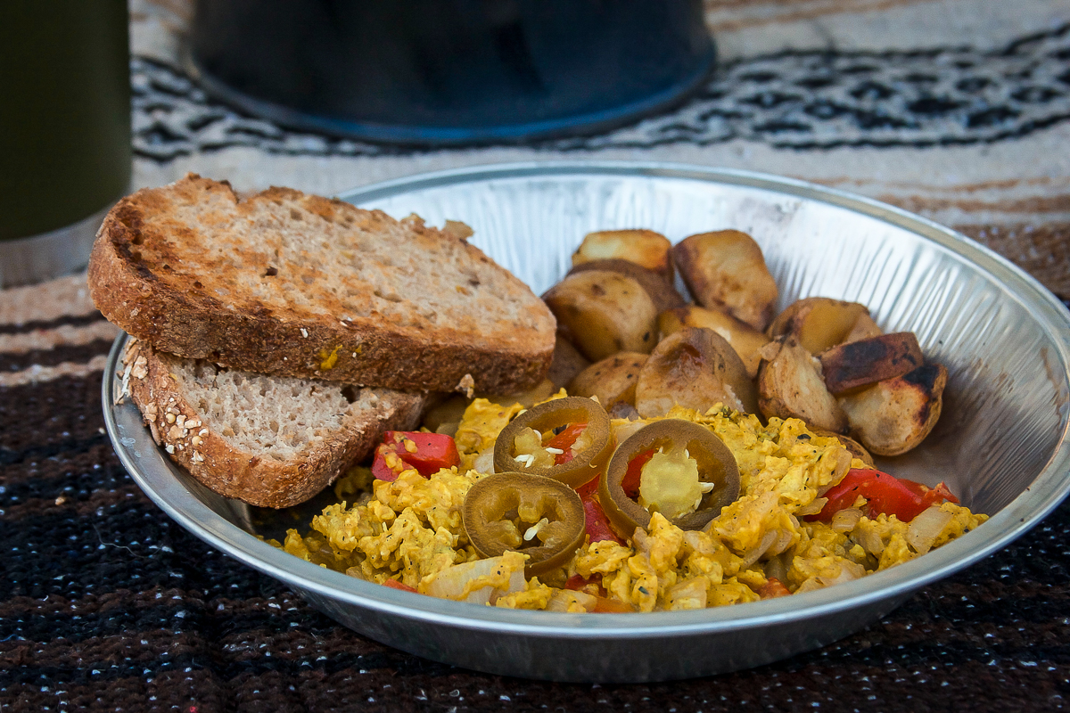 Peppers and Onion Scrambled Eggs with Ancho Roasted Potatoes