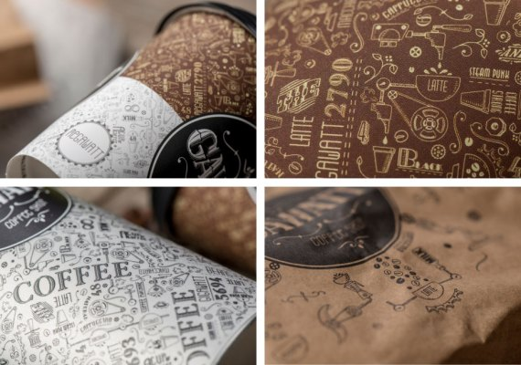 Hand-drawn images and copy throughout all the cups and food packaging