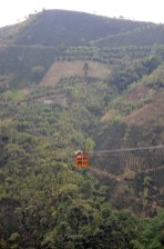 A cable car in the Andes, Antioquia cuts a 2 hour journey for the producers into 5 minutes. Photo by Mark Shimahara.