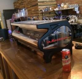 La Marzocco Strada and a Tecate at Espresso a Mano. Instagram photo.