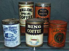 Various vintage coffee tins