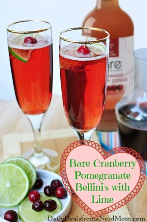 Bare Cranberry Pomegranate Bellini's with Lime Cocktail