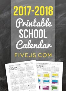 FREE PRINTABLE SCHOOL CALENDAR FOR 2017-2018