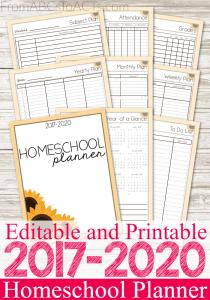 Editable 2017-2020 Homeschool Planner
