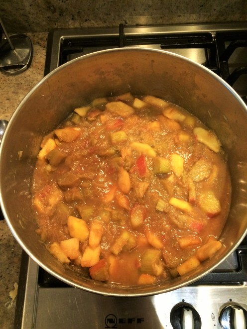 Rhubarb Cooked in Pot