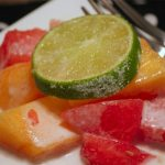Watermelon Mango Salad with Coconut Lime Cream Dressing