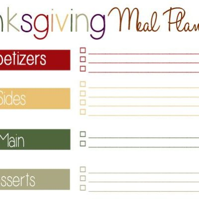 Thanksgiving Meal Plan Printable