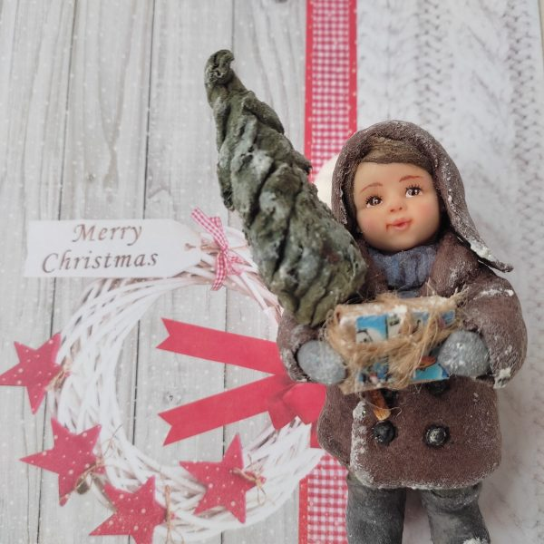 Spun cotton Christmas ornaments Spun Christmas figurine for winter home decor, decoration Christmas tree toy christmas miniature dolls 1:12 Video