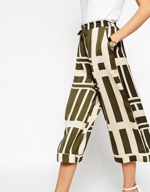 closeup green asos culottes