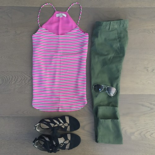 pink striped loft tank target sandals outfit