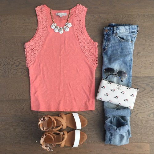 loft coral tank outfit