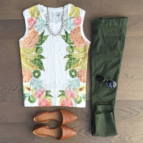 jcrew pineapple tank top outfit