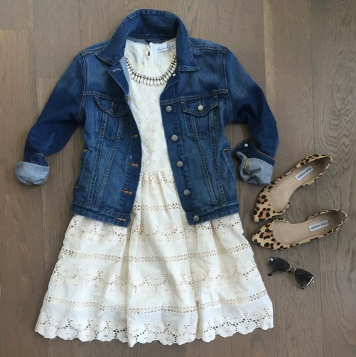 chicwish lace dress denim jacket outfit