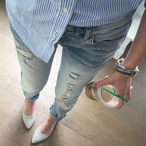 blue jeans blue striped shirt outfit