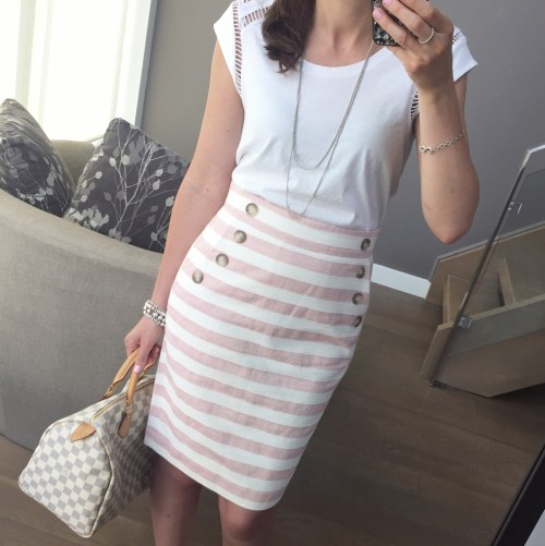 loft striped skirt outfit