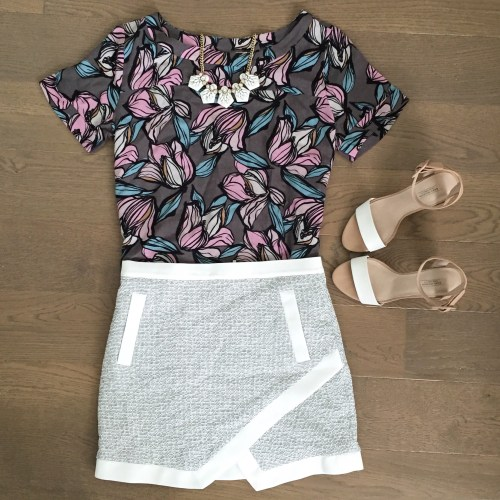 loft floral top banana republic skirt outfit