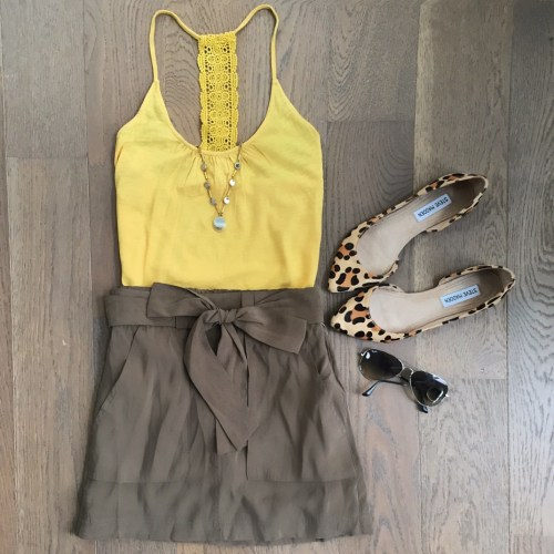 joe fresh yellow tank old navy green skirt outfit