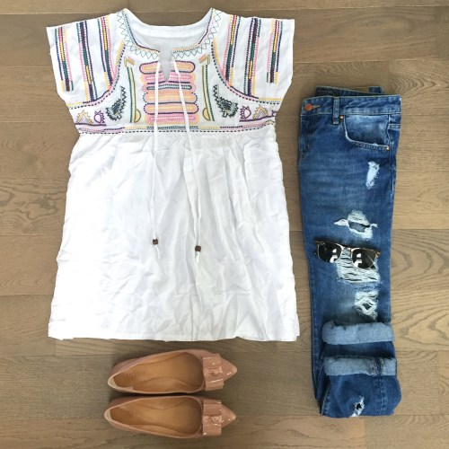 chicwish embroidered top zara jeans outfit