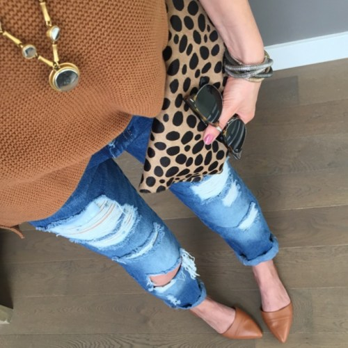 clare vivier leopard clutch and old navy shaker sweater outfit