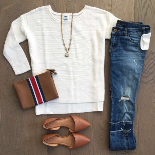old navy shaker sweater outfit