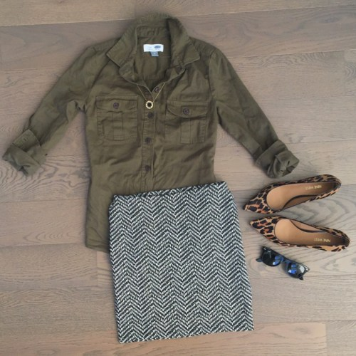 old navy skirt and olive green top outfit