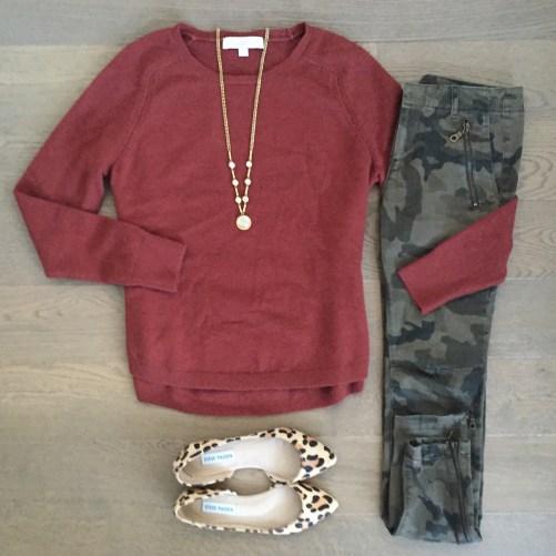 Loft sweater zara camo pants outfit
