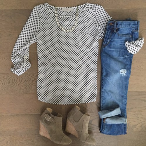 Loft polka dot top outfit