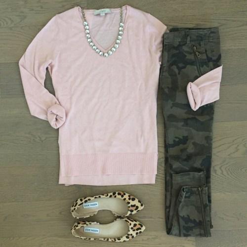 link loft sweater zara camo pants steve madden leopard flats outfit