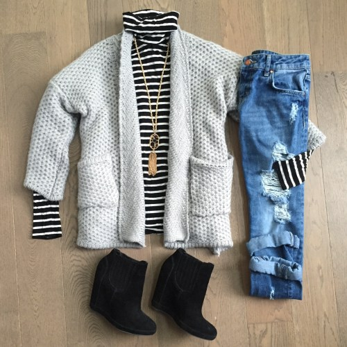 chicwish grey cardigan and black turtleneck outfit