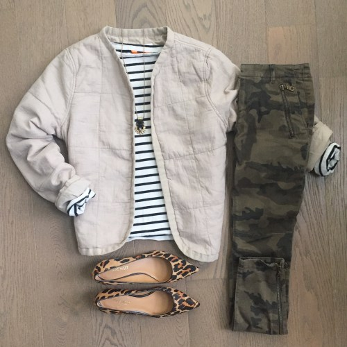 old navy quilted jacket zara camo pants outfit