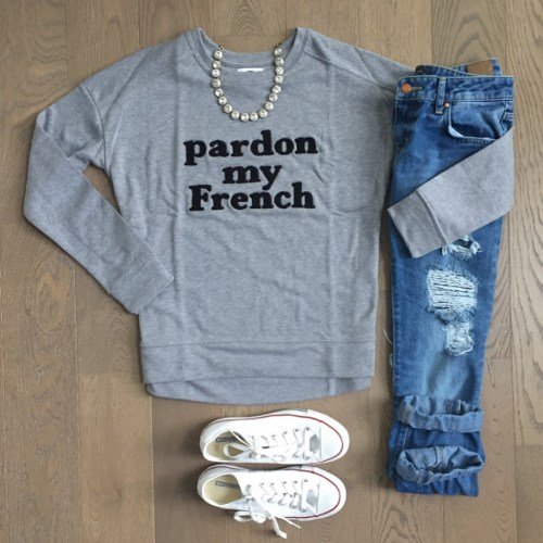 old navy pardon my french sweater outfit