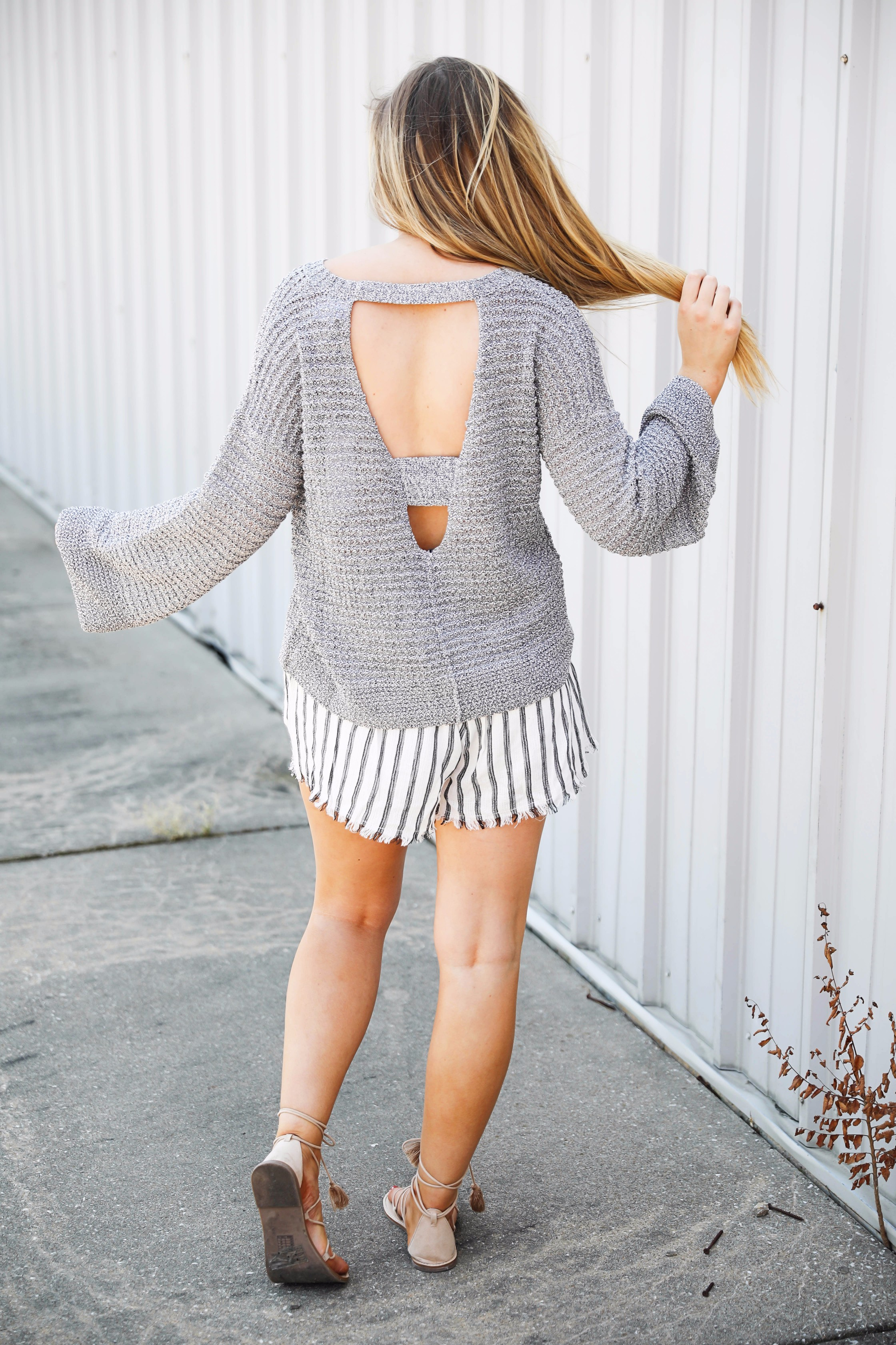 Open Back Sweater With Nautical Shorts OOTD Daily Dose