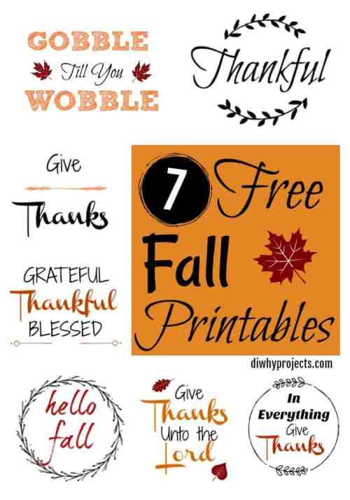 Seven Free Fall Printable Signs