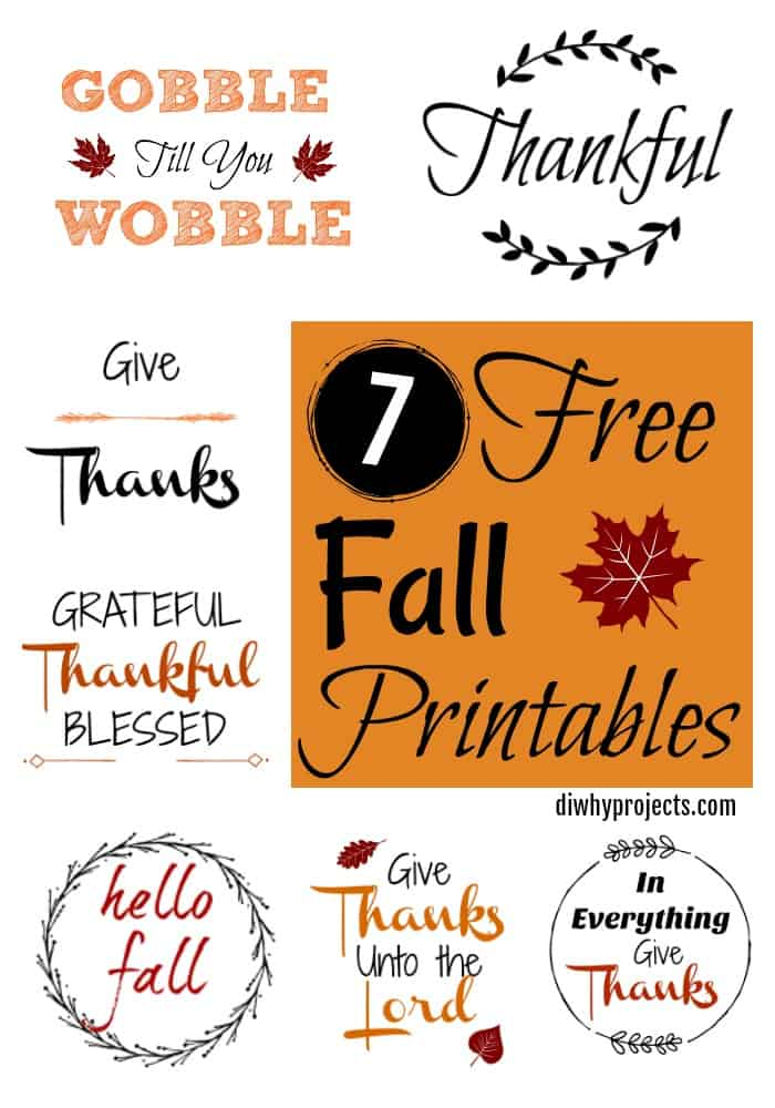 graphic relating to Free Printable Signs called 7 Cost-free Tumble Printable Symptoms for Crafts and Decor - Day-to-day