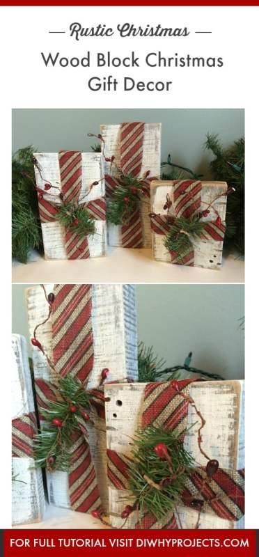 Rustic Christmas Decor Rustic Wood Block Christmas Gifts