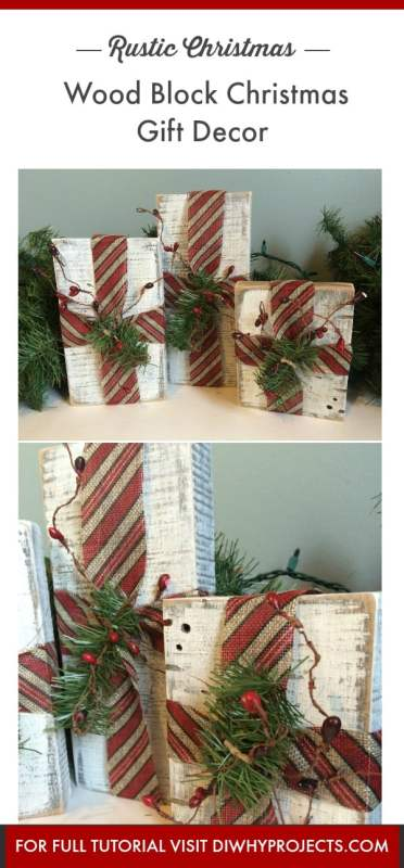 DIY Rustic Wood Block Christmas Gifts Decor - Daily Dose of DIY