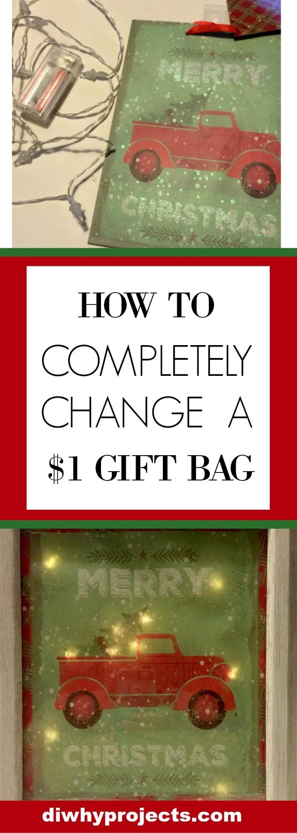 Upcycle Christmas Gift Bags To Light Up Signs - Daily Dose of DIY