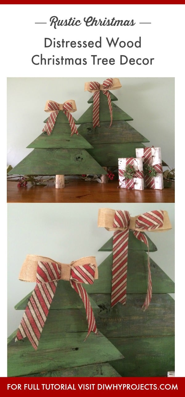 Distressed Wood Christmas Trees Decor, Rustic Christmas Decor