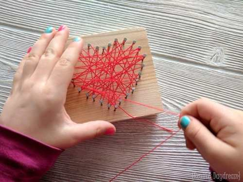 String Art Heart Valentine's Craft