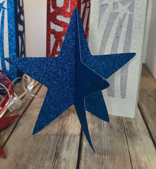 3D Blue glitter star for Patriotic Decor