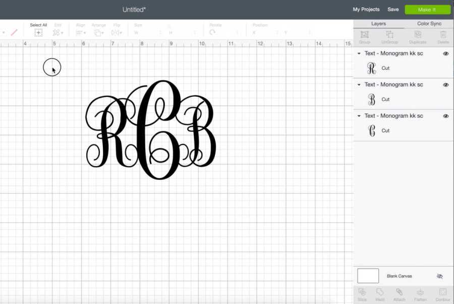 Place your monogram initials close together so they are overlapping in Cricut design space