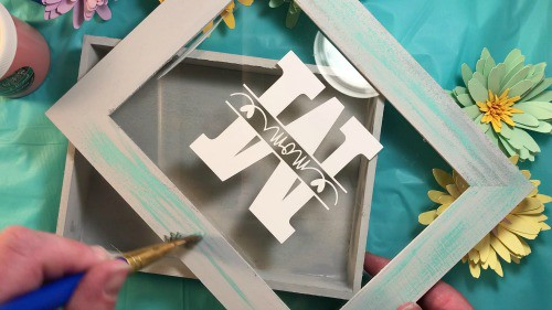 Distressing the Mother's Day Shadow Box Frame