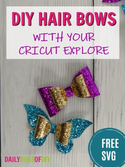DIY Glitter hair bows made with your Cricut explore.