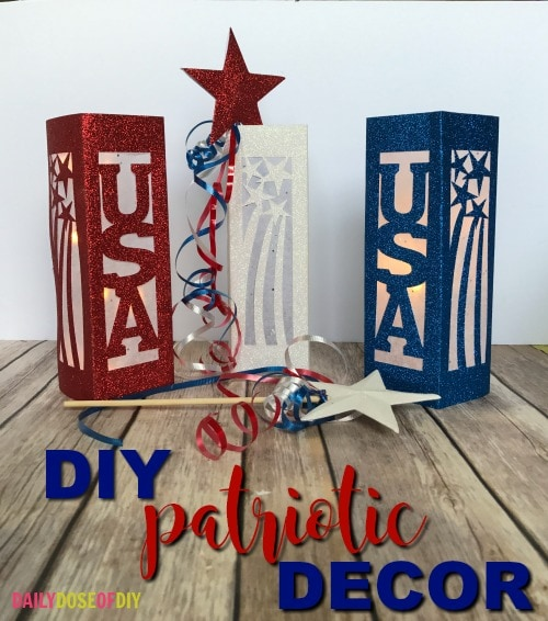 Lanterns and stars DIY Patriotic Decorations with free SVG files.