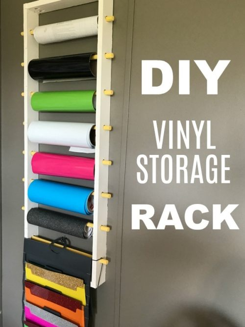 DIY Vinyl Storage Rack for both rolls and sheets.