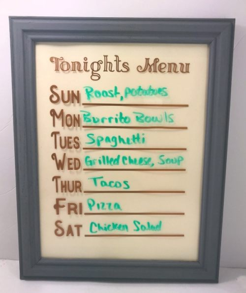 dry erase menu board complete